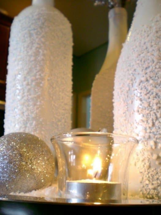 φτιάξτε χριστουγεννιάτικα χιονισμένα μπουκάλια 10
